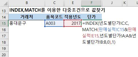 INDEX, MATCH를 이용한 다중조건으로 값찾기