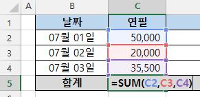 엑셀 SUM함수