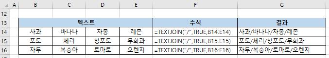 엑셀함수 TEXTJOIN