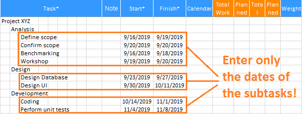 XLGantt(Excel Gantt) subtasks