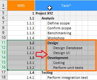 XLGantt(Excel Gantt) indent or outdent tasks