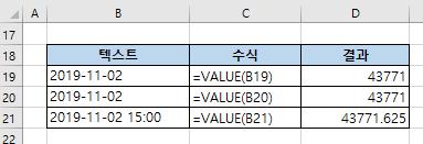 엑셀 VALUE함수 - 날짜를 숫자로 변환