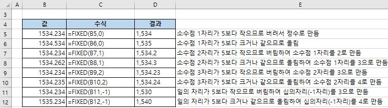 엑셀함수 FIXED - 숫자 반올림 후 결과를 텍스트로 변환하기