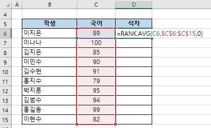 엑셀함수 RANK.AVG- 평균 순위 구하기