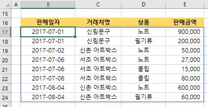 엑셀 SORT함수