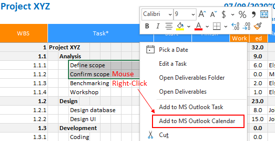 XLGantt(Excel Gantt) How to – Adding tasks to Outlook