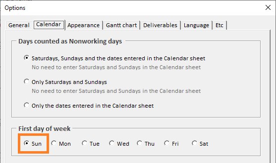 XLGantt(Excel Gantt) How to - Calendar