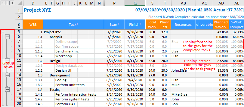 XLGantt(Excel Gantt) How to - Setting WBS Area and Color Theme